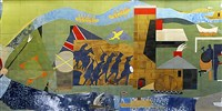 "A piece of the 60--by-13-foot-mural by Romare Bearden's ""Pittsburgh Recollections."""