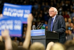 Democratic presidential candidate and Vermont Sen. Bernie Sanders speaks Tuesday in Huntington, W.Va. Mr. Sanders lost four states Tuesday night, but he won Rhode Island over former New York senator and Secretary of State Hillary Clinton.