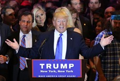 Republican presidential candidate Donald Trump  speaks to supporters and the media with New Jersey Governor Chris Christie behind him at Trump Towers following the conclusion of primaries Tuesday.