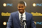 Steelers first round draft pick Artie Burns talks to the media during a press conference on the South Side.