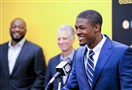 Steelers first round draft pick Artie Burns addresses the media in front of head coach Mike Tomlin and team president Art Rooney II during a press conference Friday on the South Side.