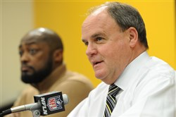 Steelers general manager Kevin Colbert and coach Mike Tomlin.