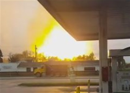 The view from Route 22 of an explosion that erupted at a gas well site in Salem, Westmoreland County.