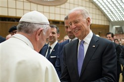 Pope Francis shakes hands with Vice President Joe Biden on Friday at the end of an audience for the participants of the International Conference on the Progress of Regenerative Medicine and Its Cultural Impact at the Paul VI audience hall at the Vatican.