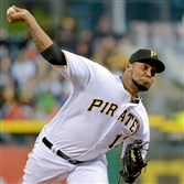 Pirates' Juan Nicasio pitches against the Reds Friday night at PNC Park.