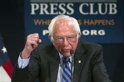 Democratic presidential candidate Sen. Bernie Sanders, I-Vt., speaks at a news conference in Washington, D.C., on Sunday.