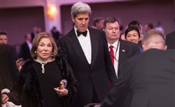 Teresa Heinz Kerry and her husband U. S. Secretary of State John Kerry attend the 102nd White House Correspondents' Association Dinner.