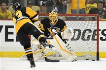 Penguins goalie Marc-Andre Fleury was back in the lineup as the backup goaltender Monday in Game 3 against the Washington Capitals.