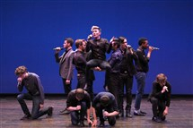 The all-male a cappella group The Originals of Carnegie Mellon University finished second in the International Competition for Collegiate A Cappella Saturday at the Beacon Theatre in New York. They are seen here performing in the semifinals.