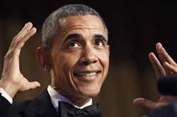 President Barack Obama speaks Saturday at the annual White House Correspondents' Association dinner at the Washington Hilton in the nation's capital.