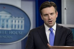 White House press secretary Josh Earnest speaks during the daily news briefing at the White House in Washington, D.C., on Monday.