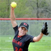 West Allegheny's Carli Eger pitches against Quaker Valley Monday afternoon.