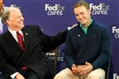 Matt Freed/Post-Gazette FedEx Ground CEO Henry Maier talks with PGA Tour member Jordan Spieth at a news conference Tuesday at the company's headquarters in Robinson. The company donated $1 million in his name to the St. Jude Children's Research Hospital.