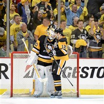 Ben Lovejoy congradulates Matt Murray after the Penguins' 3-2 win in Game 3 Monday night at Consol Energy Center.