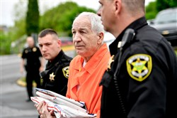 Former Penn State University assistant football coach Jerry Sandusky arrives at the Centre County Courthouse in Bellefonte, Pa., for a hearing in May 2016.
