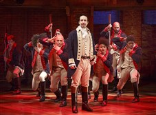 "Lin-Manuel Miranda and the cast during a performance of ""Hamilton"" in New York."