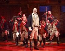 "Lin-Manuel Miranda and the cast during a performance of ""Hamilton,"" in New York."