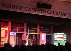 "The gamblers in a scene from ""Guys & Dolls"" at Bishop Canevin High School."