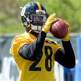 Steelers safety Sean Davis pulls in a pass Friday at rookie minicamp on the South Side.