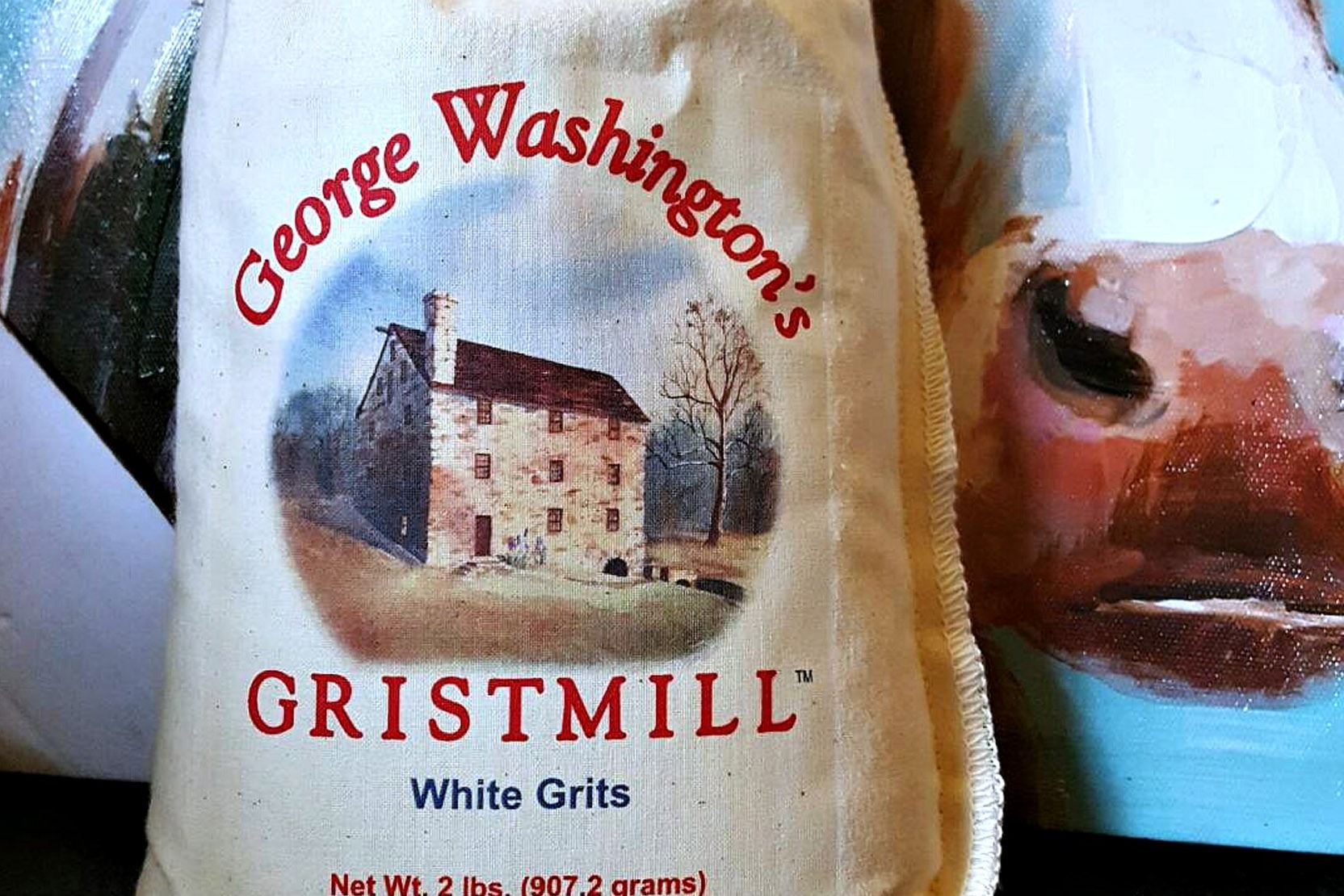 gristmill0518_washington_grits Products made and sold at George Washington's Gristmill at Mount Vernon include white and yellow grits and cornmeal, and pancake mix.