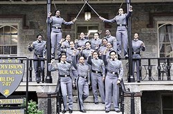 Ooh, scary: The undated image from Twitter of 16 black, female West Point cadets with fists raised.