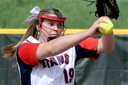 Shaler's Bri Dobson pitches against Pine-Richland Tuesday at Shaler.