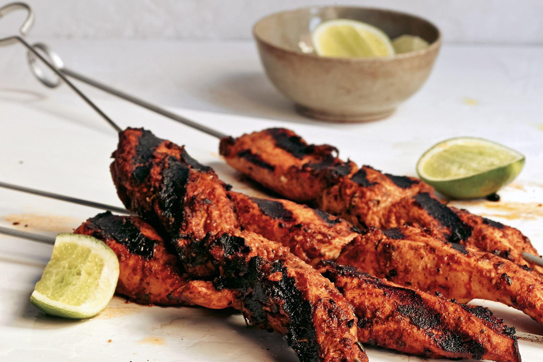 """flavorwalla0518_grilled_chicken-1 Grilled Chicken Skewers from """"Flavorwalla"""" by Floyd Cardoz."""