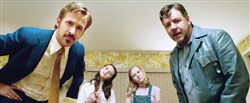 "From left, Ryan Gosling as Holland March, Daisy Tahan as Jessica, Angourie Rice as Holly and Russell Crowe as Jackson Healy in ""The Nice Guys."""