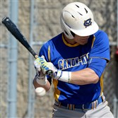 Canon-McMillan's Tanner Piechnick gets hit by a pitch against North Hills Monday in a WPIAL Class AAAA first-round game at North Allegheny.