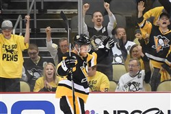 The Penguins' Patric Hornqvist celebrates a goal against the Lightning on May 13.