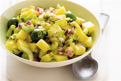 "Warm Potato Salad with Green Olive Vinaigrette from ""Whole World Vegetarian"" by Marie Simmons."
