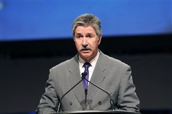 U.S. Steel president and CEO Mario Longhi speaks to a steel industry convention at the David L. Lawrence Convention Center.