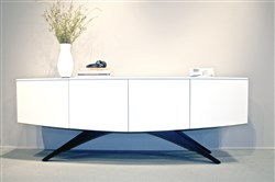 BDI's new white Venue media cabinet with a curved front and arched metal legs. It will be available in September.