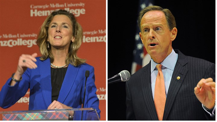 mcginty toomey collage Democratic senate candidate Katie McGinty and Republican U.S. Sen. Pat Toomey.