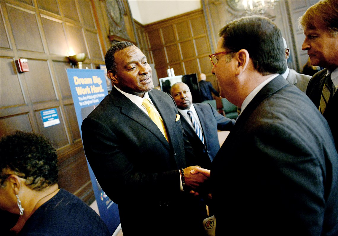 building superintendent resume%0A Anthony Hamlet  center  greets Mayor Bill Peduto and Allegheny County  County Executive Rich Fitzgerald