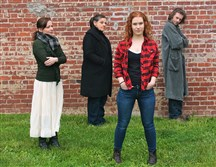 "From left, Erin Lindsey Krom (Shelby Thorpe), Terry Wickline (Hannah Ferguson), Lindsay Bayer (Percy Talbott) and Michael Petrucci (The Visitor) in ""The Spitfire Grill."""