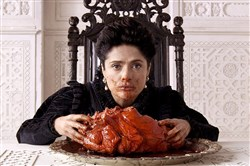 "Salma Hayek as the Queen of Longtrellis, eating her sea monster's heart in the stunning ""Tale of Tales."""