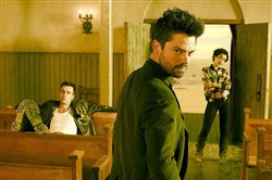 "From left, Joseph Gilgun as Cassidy, Dominic Cooper as Jesse Custer and Ruth Negga as Tulip O'Hare in ""Preacher."""