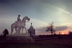 A horse-mounted monument honors the 8th Pennsylvania Cavalry at the battlefield at Gettysburg, Pa.