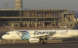 In this Dec. 10, 2014 image an EgyptAir Airbus A320 on the tarmac at Cairo airport.