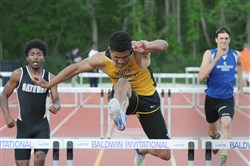 Ayden Owens of North Allegheny won the 300 hurdles in the WPIAL track and field championships last year.