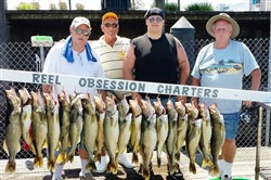 On a 2013 Reel Obsession charter, Pittsburghers Ron, George and Brent Laufer and Jim Capezzi caught 18 walleye and lost five. The 2016 season has been slow to start.