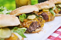 All-American Cheeseburgers with Homemade Pickles.