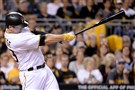 David Freese drives in the winning run in the sixth inning Friday night.