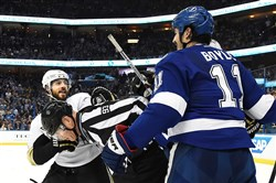 Penguins defenseman Kris Letang and the Lightning's Brian Boyle are separated by an official Friday night in Game 4 of the Eastern Conference final.