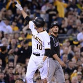 Pirates' Jordy Mercer celebrates after hitting a triple in the fifth inning against the Rockies Friday night at PNC Park.