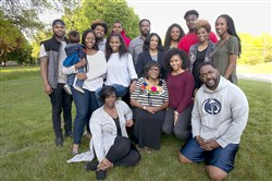 "The Thorpe family, a multi-generational athletic powerhouse, poses for a photo at the home of matriarch Lola Thorpe in Glenshaw. Front row (all seated) Rondaya Bradley, Lola Thorpe, Aja Thorpe (in maroon) and Chris Thorpe. Back Row: LaRue ""Tre"" Bradley, Christin Thorpe with Ozzie Thorpe, 1, Niko Thorpe, Summer Thorpe, Carrington Vaughn, Ivan Thorpe, Gina Thorpe, Marita Bradley, C.J. Thorpe, Nikki Thorpe and Gia Thorpe."