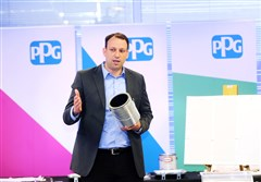 Max Wetzel, chief marketing officer and general manager of home centers for PPG Architectural Coatings, talks about some of the new products rolling out in Home Depot, Lowe's and Walmart during an event Monday at One PPG Place, Downtown.