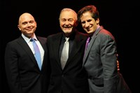 "From left, two-time Tony Award winner Michael Cerveris with his father, also Michael Cerveris, and Seth Rudetsky at Pittsburgh CLO's ""An Evening with Michael Cerveris and Seth Rudetsky,"" a fundraiser May 23 at the Cabaret at Theater Square, Downtown. Photo Matt Polk"