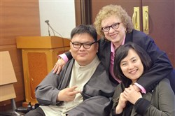 Joyce Bender with disability rights activists from the Center for Independent Living in Daegu, South Korea.